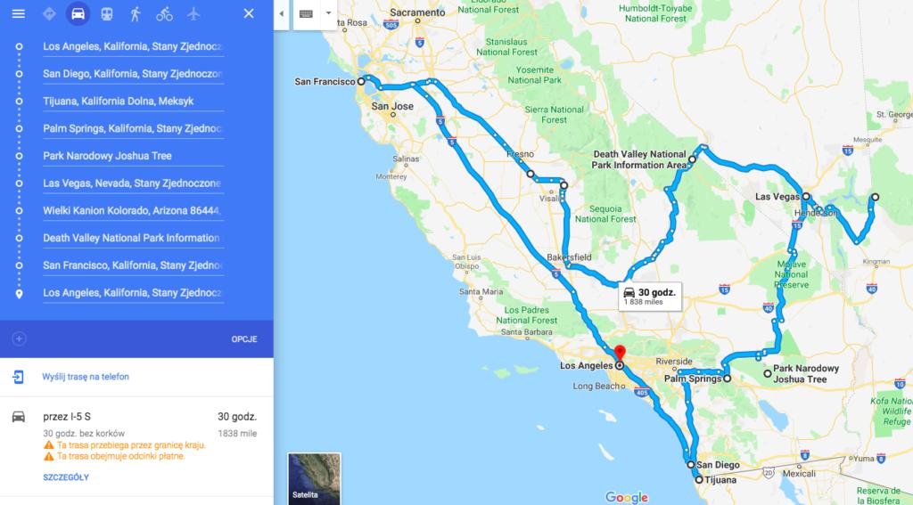 pomysł na kalifirniia road trip